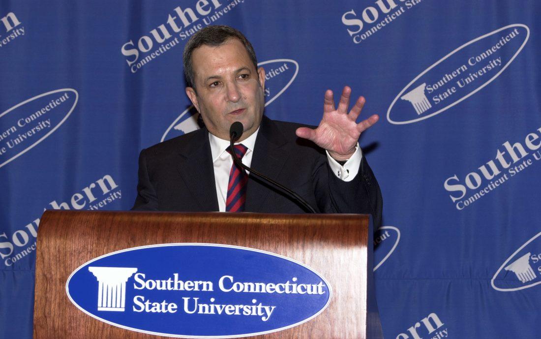 Ehud Barak speaking at SCSU