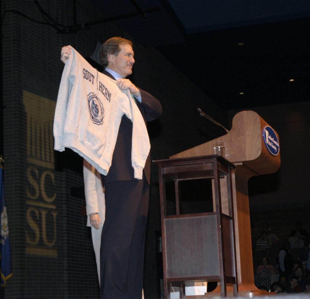 Bill Belichick with a Southern Connecticut State University sweatshirt